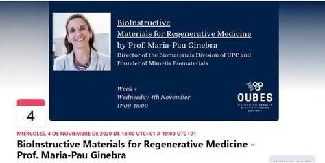 BioInstructive Materials for Regenerative Medicine, una charla de la Prof. Maria-Pau Ginebra en Oxford